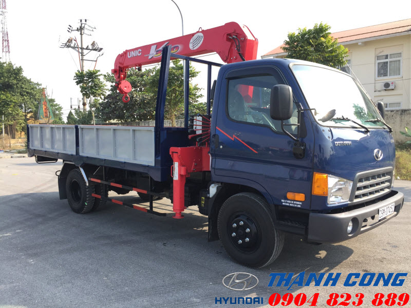Xe Nâng Tải Thùng Dài Hyundai HD120SL 8.5 Tấn Gắn Cẩu UNIC UR-V344 3 Tấn 4 Khúc