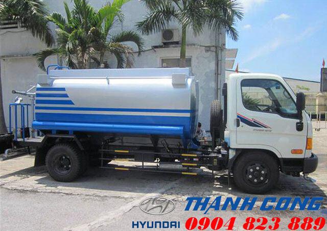 Xe xi téc 6 khối Hyundai HD700 Đồng Vàng Phun tưới nước rửa đường