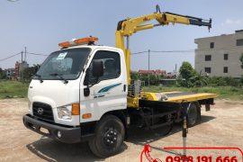 Xe tải Hyundai 110SP cứu hộ giao thông sàn trượt gắn cẩu càng kéo
